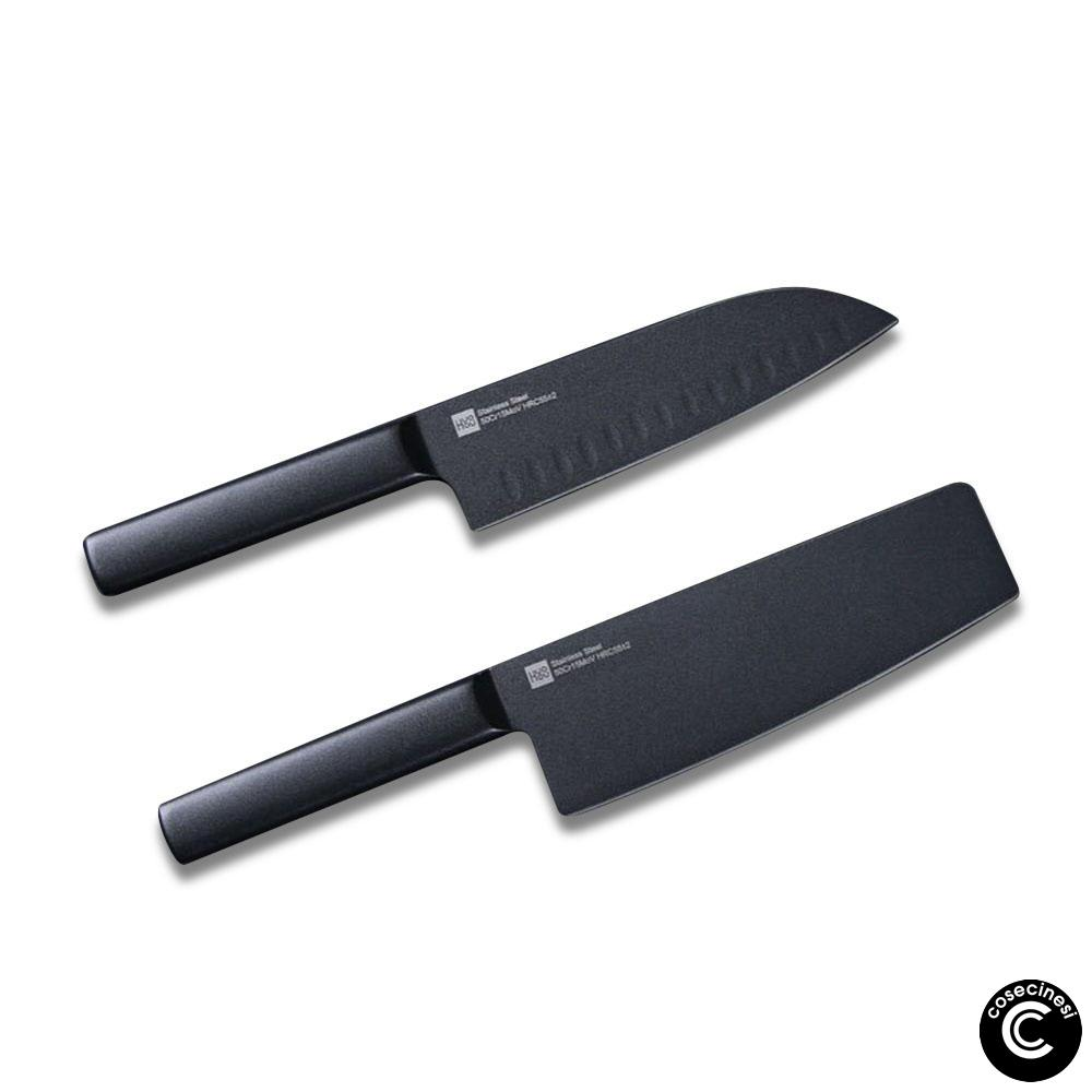 Coupon HUOHOU 2PCS Set Cool Black Stainless Steel Knife Nonstick Knife Set 7inch Anti Bacteria Kitchen Chef Knife Slicing Knife From Xiaomi Youpin
