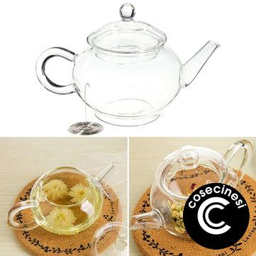 Coupon 250ml 8.5oz Glass Teapot Heat Resistant Tea Kettle